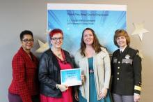 Maria Van Horn and Elizabeth White from DOT being recognized for Outstanding Ambassadorship.