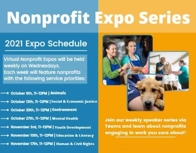 An image that lists the days and times  of the Nonprofit Expos with three pictures of people and a dog.